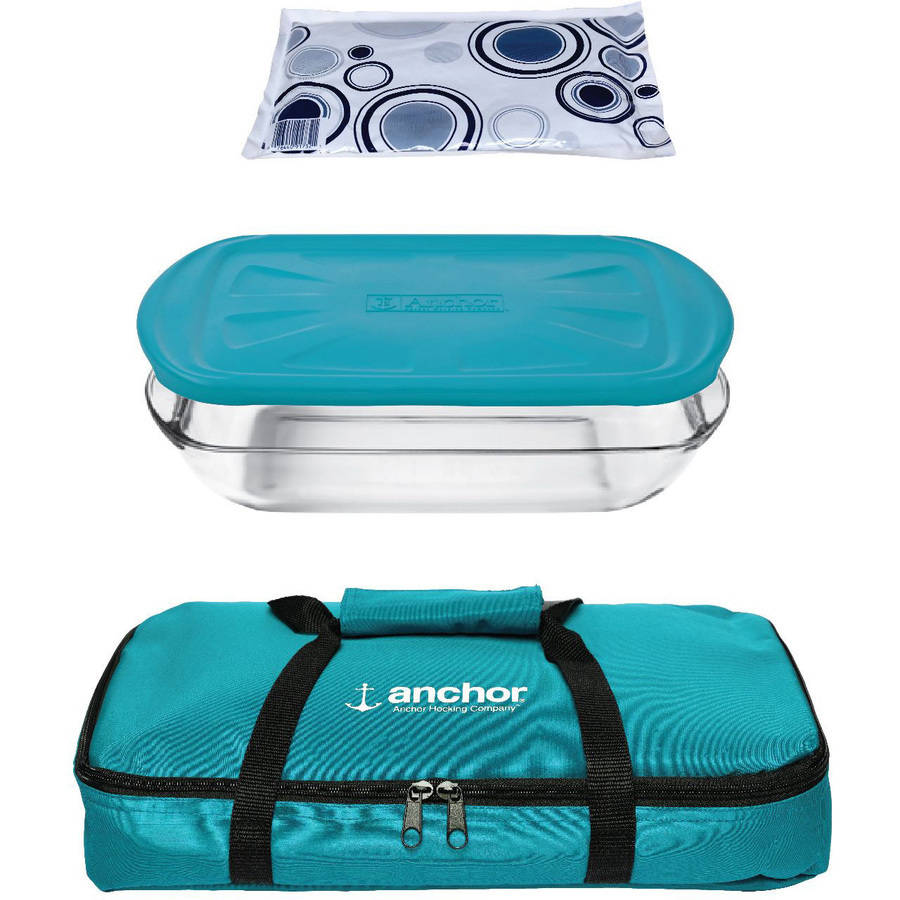 Anchor Hocking 4-Piece Bake Set with Teal Tote
