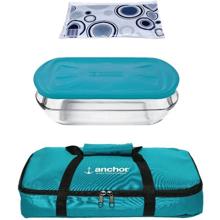 Anchor Hocking 4-Piece Bake Set with Teal Tote by