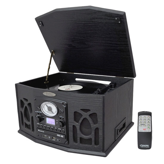 Vintage Turntable With CD Cassette Radio Aux-In USB SD MP3 and Vinyl-to-MP3 Encoding by Pyle