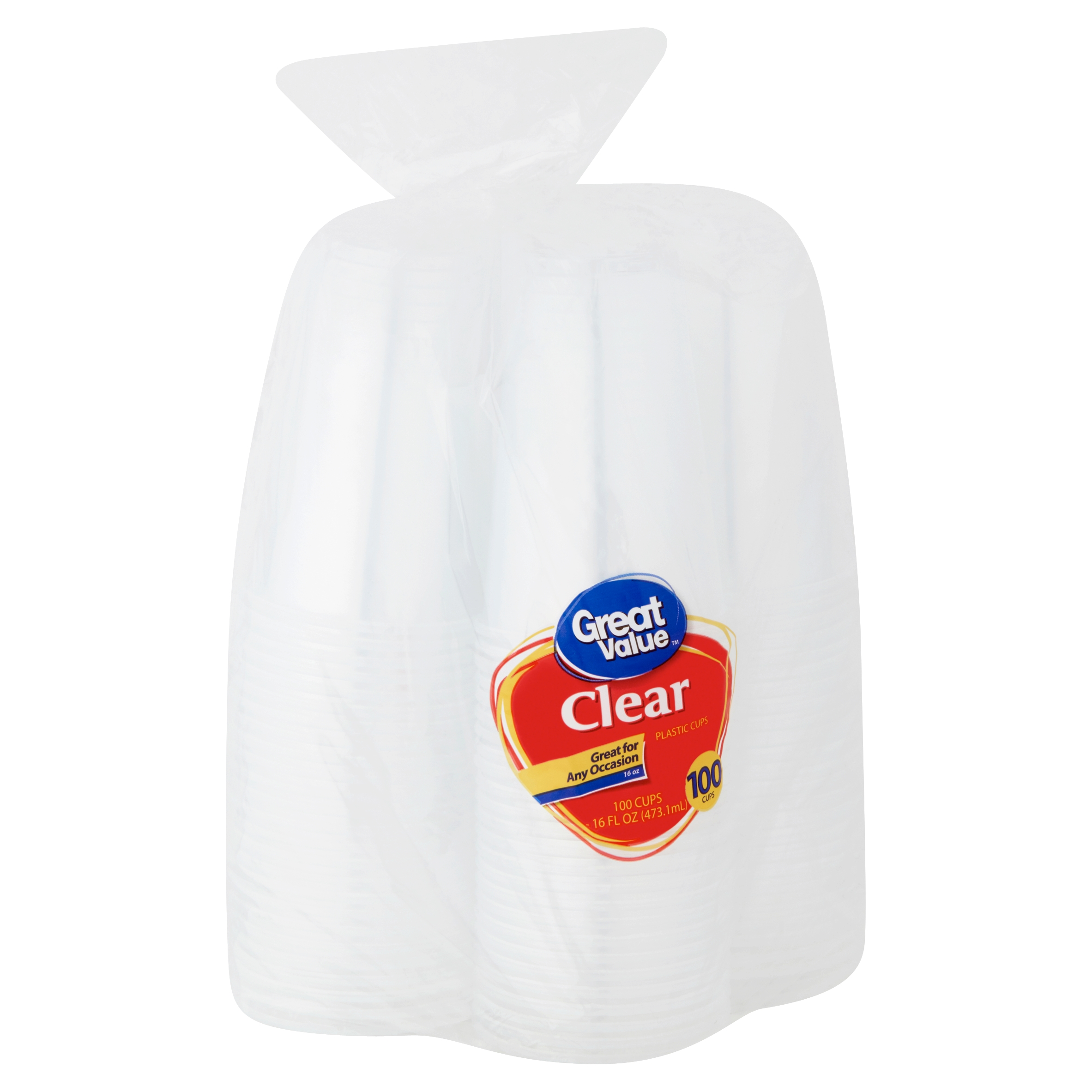 Great Value 16 oz Clear Plastic Cups,100 count