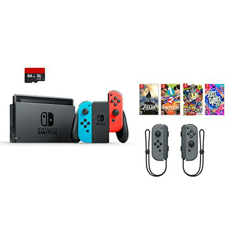 Nintendo Swtich 7 Items Bundle Nintendo Switch 32Gb Console Red And Blue 64Gb Micro Sd Card And Nintendo Controllers Gray 4 Game Disc1 2 Switch Just Dance2017 The Legend Of Zelda Super Bomberman R