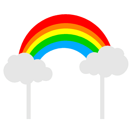 Bright Rainbow & Clouds Cake Decoration Banner Topper