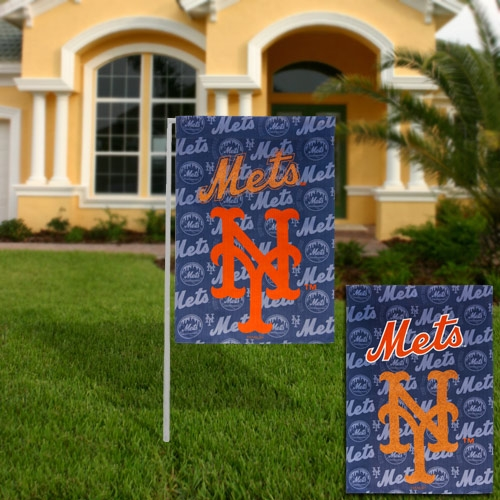 New York Mets 18'' x 12.5'' Double-Sided Glitter Suede Garden Flag - No Size