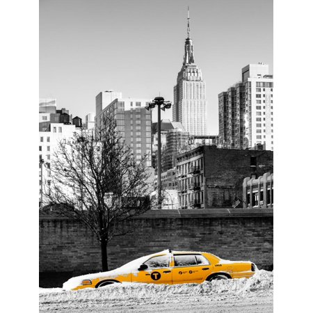 NYC Yellow Taxi Buried in Snow near the Empire State Building in Manhattan Print Wall Art By Philippe