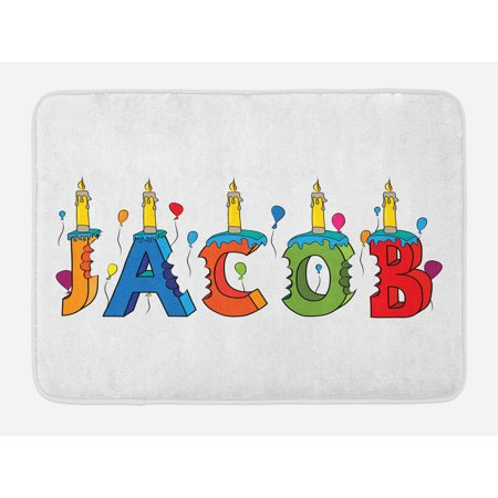 Jacob Bath Mat, Cartoon Colorful Festive Letters Spelling Male Name Surprise Birthday Party Kids, Non-Slip Plush Mat Bathroom Kitchen Laundry Room Decor, 29.5 X 17.5 Inches, Multicolor, Ambesonne