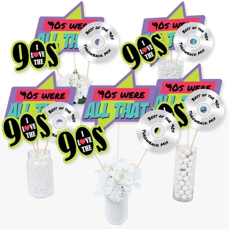 90's Throwback - 1990s Party Centerpiece Sticks - Table Toppers - Set of - 1990s Theme