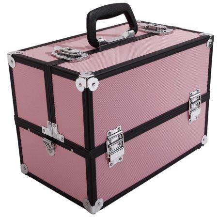 Zimtown 2 Extendable Tiers Cosmetic Makeup Train Case Aluminum Storage Lock Jewelry -14