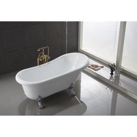. MachBath Ringsted 67  White Acrylic Silver Clawfoot Bathtub