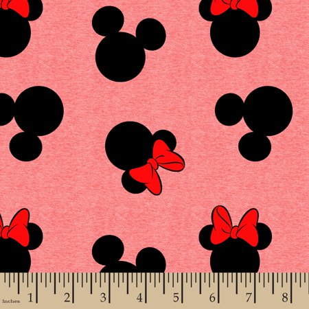 Disney Micky and Minnie Head Toss Jersey Knit Fabric by the yard