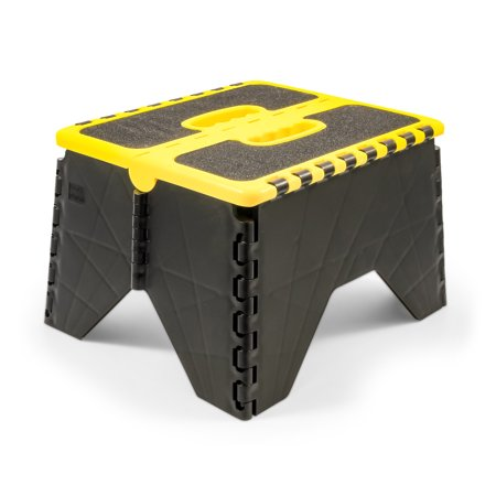 Camco 43637 Non Skid RV Folding Step Stool - Yellow/Black - Non Skid Steps