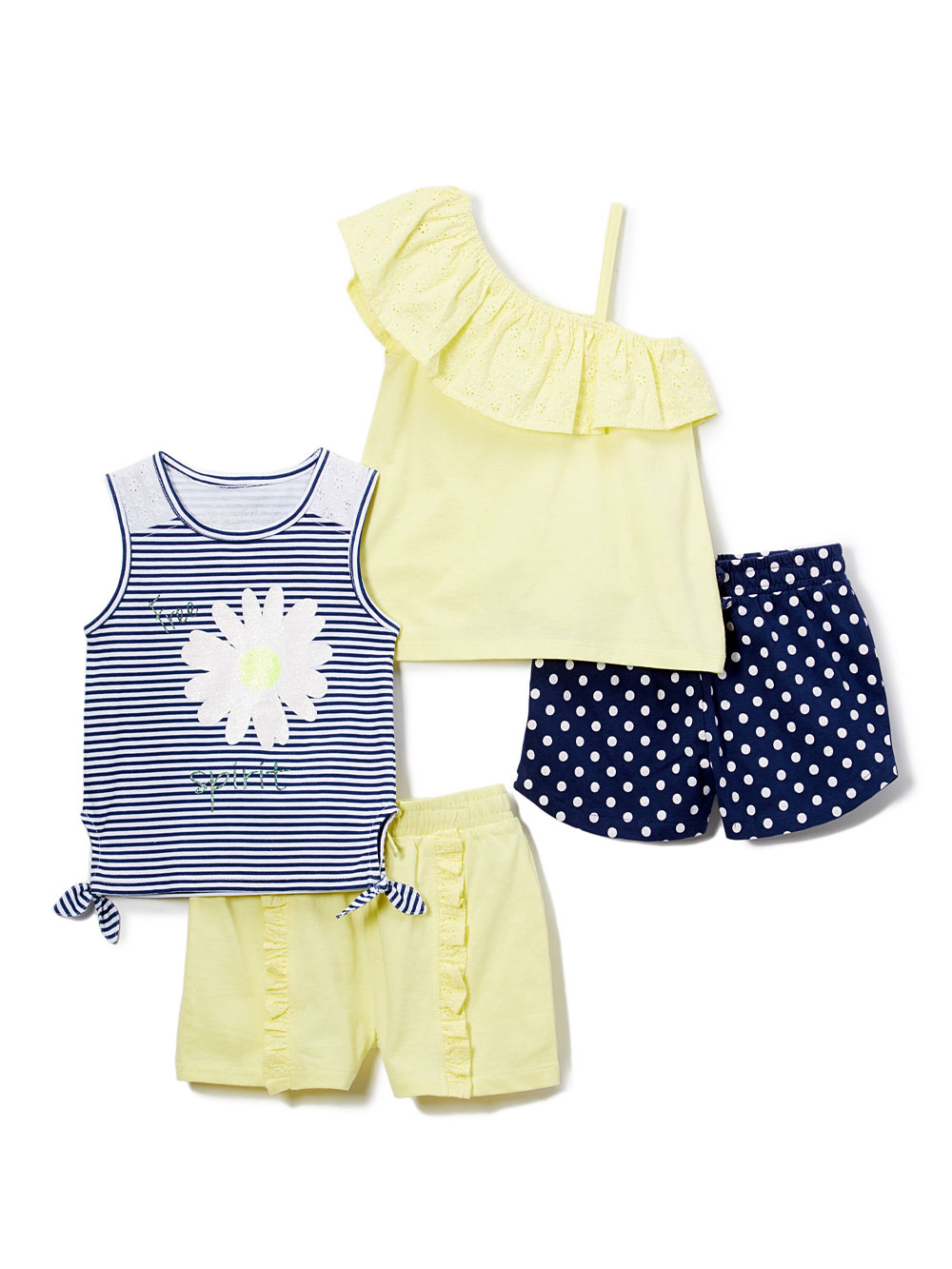 Ruffle Tank, Front-Tie Top & Shorts, 4pc Outfit Set (Toddler Girls)