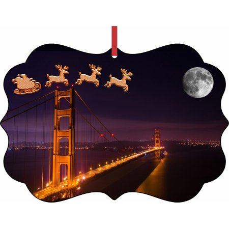 Santa Klaus and Sleigh Riding Over The Golden Gate Bridge Elegant Aluminum SemiGloss Christmas Ornament Tree Decoration - Unique Modern Novelty Tree Décor Favors