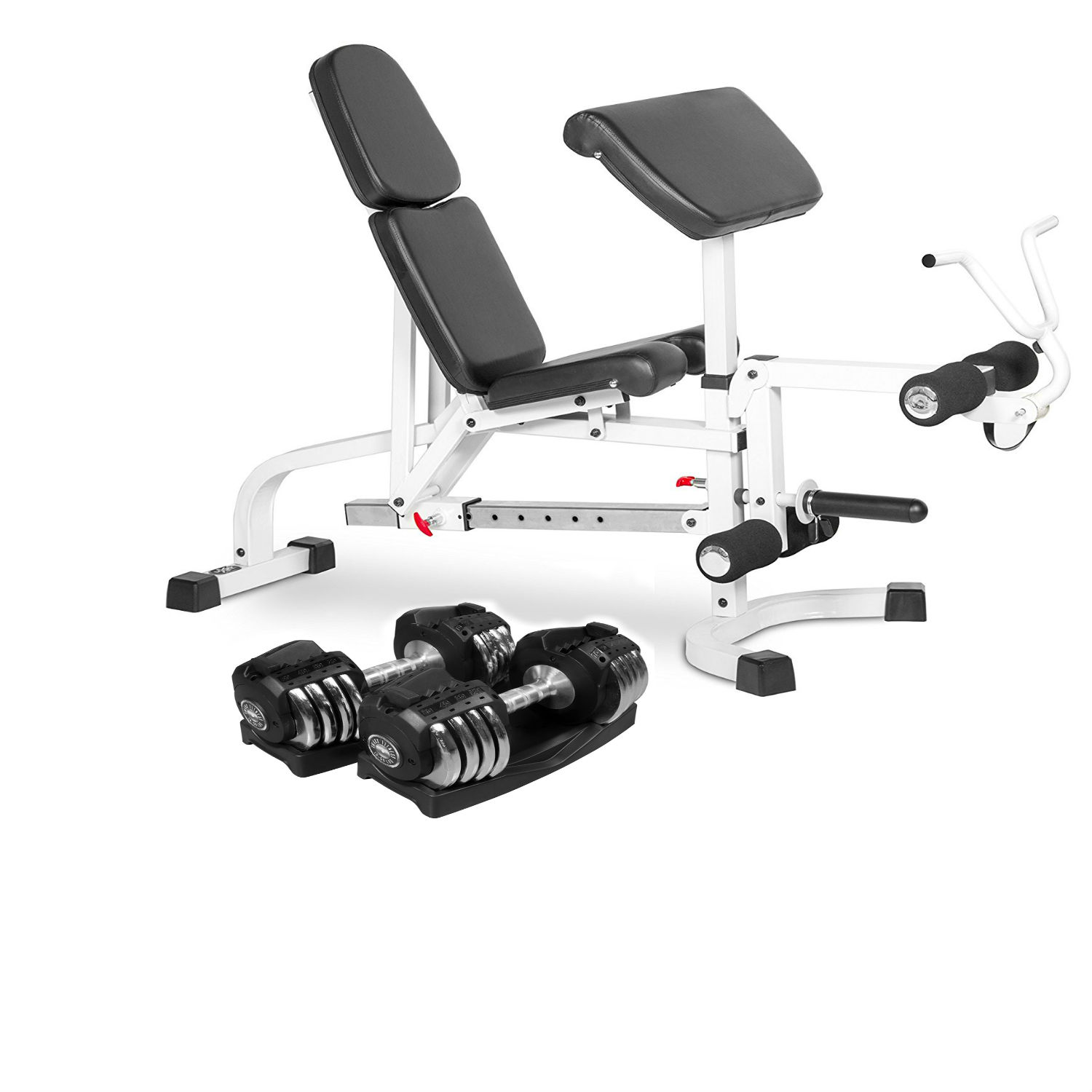 Combo Offer XMark Fitness Flat Incline Decline Weight Bench with Leg Extension and Preacher Curl XM-4419-White with Pair of 50 lb. Adjustable Dumbbells XM-3307-2