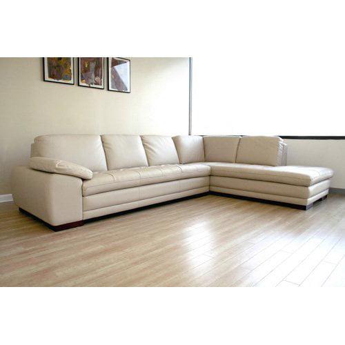 Baxton Studio Beige Leather Sectional Sofa