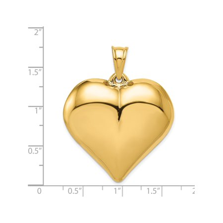 14k Yellow Gold Puffed Heart (39x42mm) Pendant / Charm - image 1 of 3