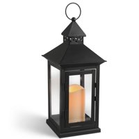 Gerson Metal Flameless LED Lantern with Timer Feature