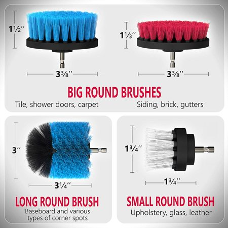 Drill Brush Bathroom Surfaces Tub, Shower, Tile and Grout All Purpose Power Scrubber Cleaning Kit - image 4 de 7