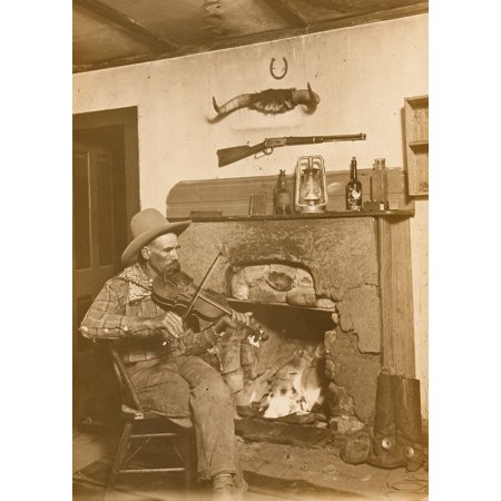 Erwin E Smith Three Block Cowboy New Mexico Cowboy Harry Patten Playing The Fiddle As He Sits Beside A Roaring Fireplace Cowboy Accoutrements Rest Beside And Above The Fireplace  Born In Bonham Texas