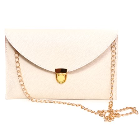 HDE Women's Envelope Clutch Purse Handbag (Cream) (Accented Clutch Handbag)