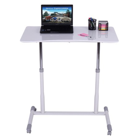 Costway height adjustable computer desk sit stand rolling notebook table stand portable - Computer stands at walmart ...