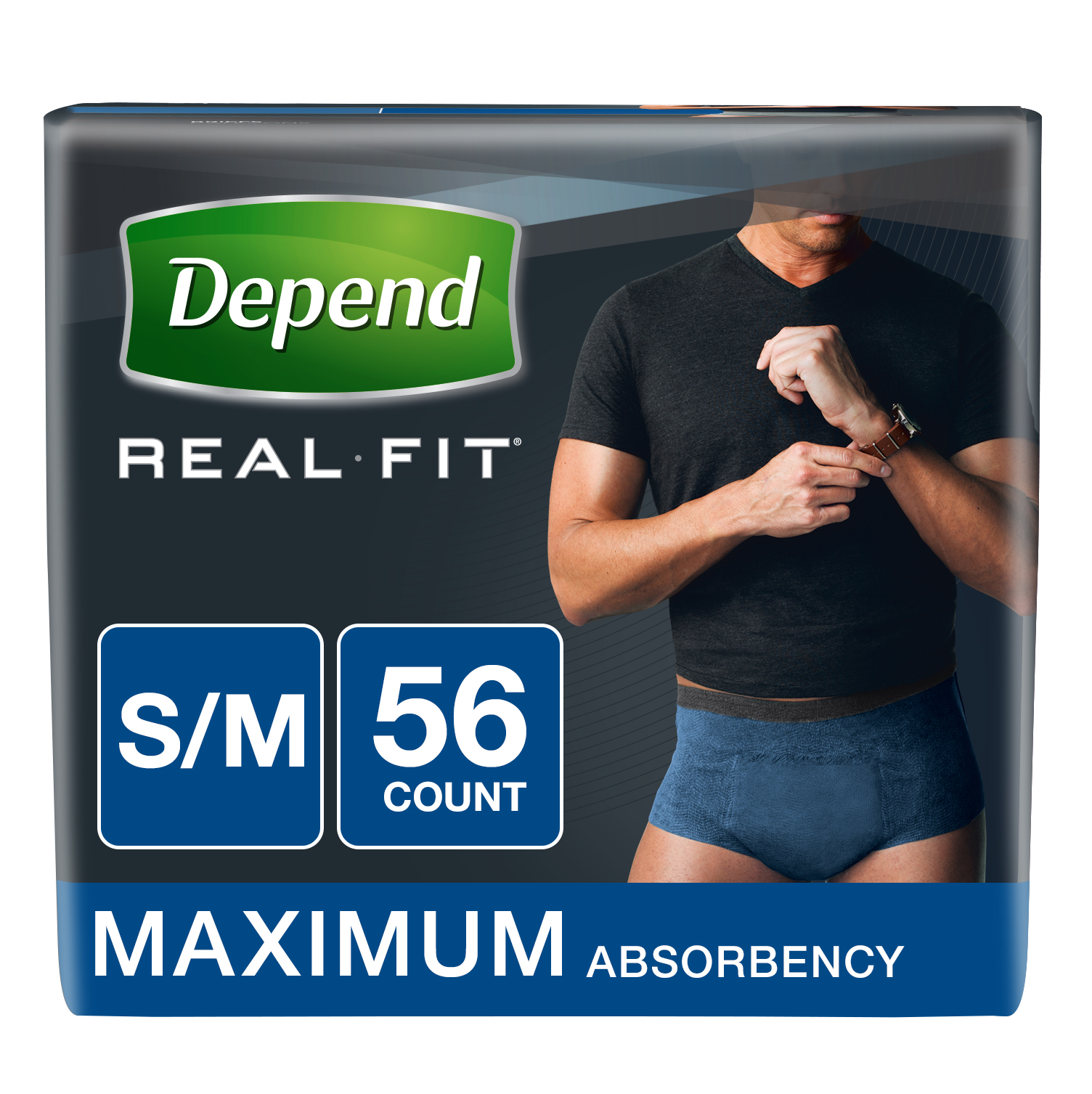 Depend Real Fit Incontinence Briefs for Men, Maximum Absorbency, S/M, 56 Ct