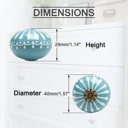 Ceramic Knobs Drawer Round Handle for Cupboard Wardrobe Replacement Blue 6pcs - image 2 de 7