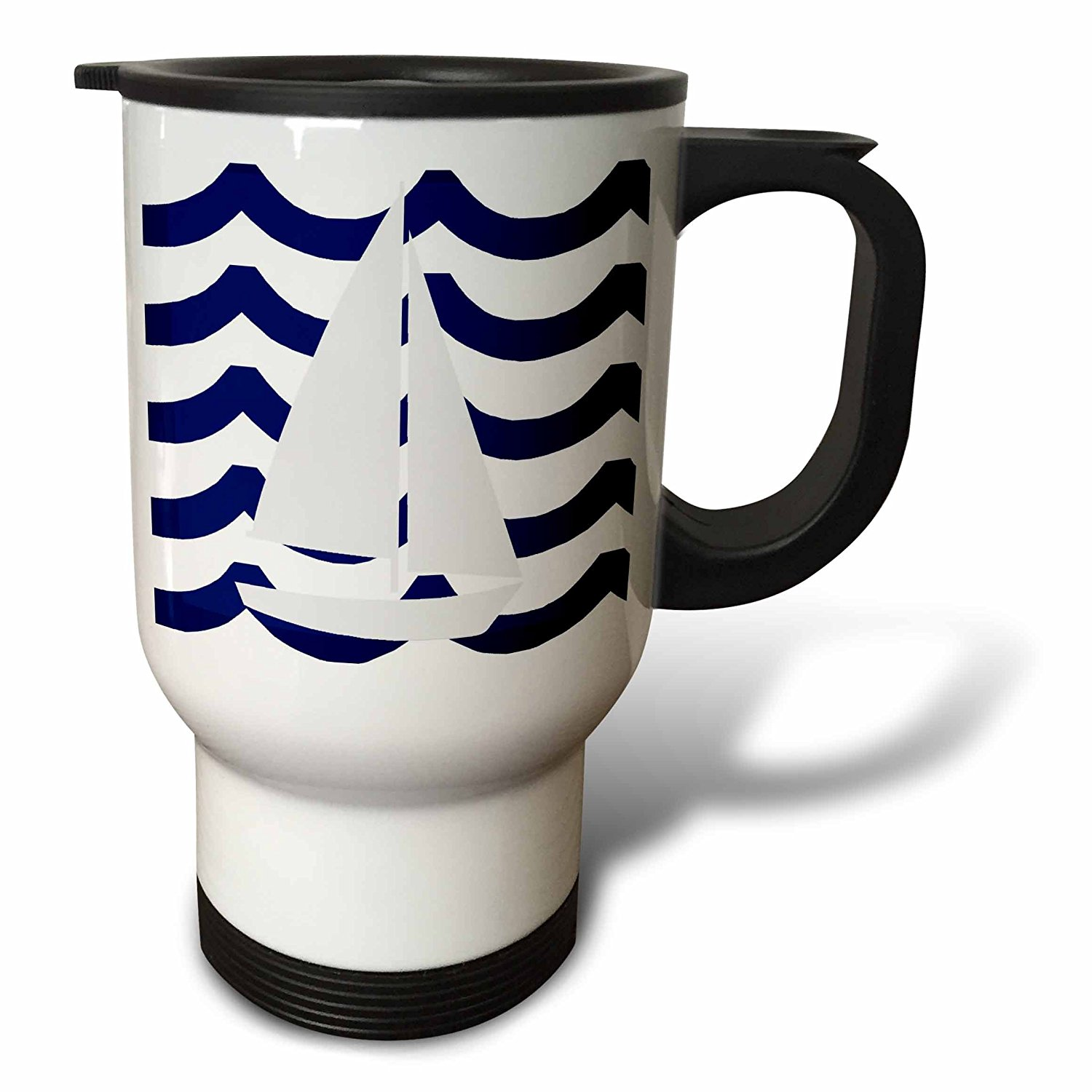 3dRose White Toy Sailboat On Blue Waves, Travel Mug, 14oz, Stainless Steel by 3dRose