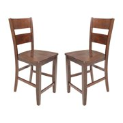 TTP Furnish Solid Wood Counter Height Sturdy Dining Chair / Modern Kitchen Chair, Espresso (Set of 2)