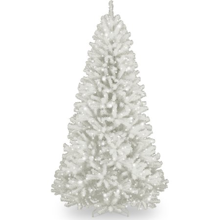 national tree pre lit 7 north valley white spruce hinged artificial christmas tree with - Glitter Christmas Tree