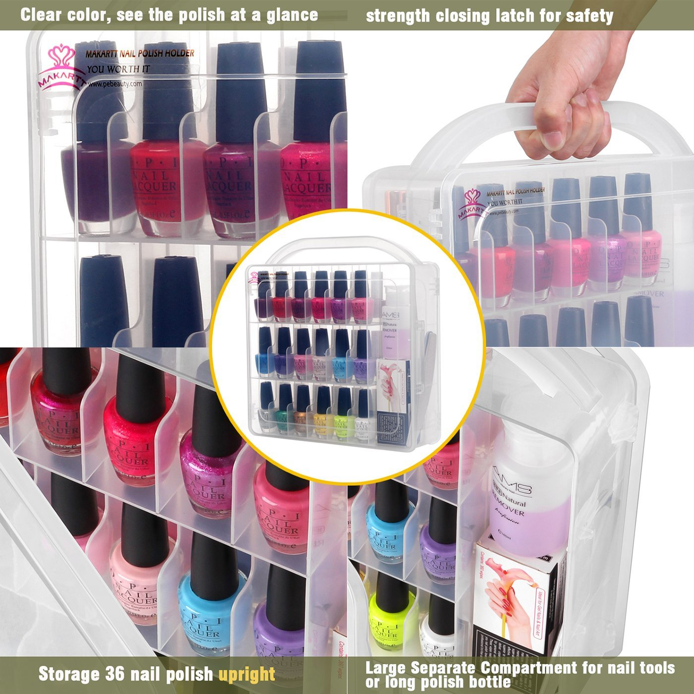 Nail Polish Holder Organizer Box For 36 Bottles With Large Separate Compartment Walmart Com Walmart Com