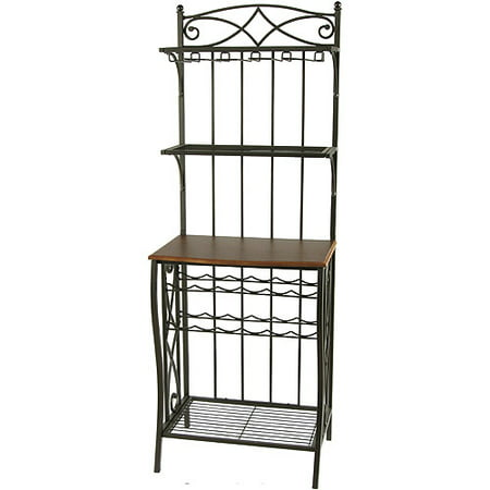 Metal Bakers Rack With Wine Storage Antique Brass Finish