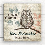 Wise Owl Personalized Teacher Gift Canvas, 16x16