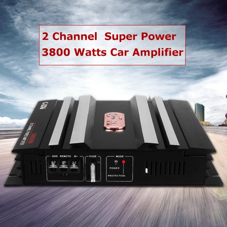 - 3800 Watt 12V 2 Channel 4 Ohm Car Audio Power Amplifier Bass Amp Class A Aluminum For Auto Motorcycle Home + LED Power Indicator