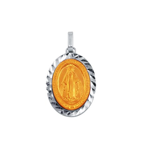 - Sterling Silver Two-Toned Virgin Mary Medallion Pendant