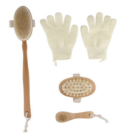 Dry Brushing Body Brush Kit 4 Pack Skin Exfoliator Gift Set