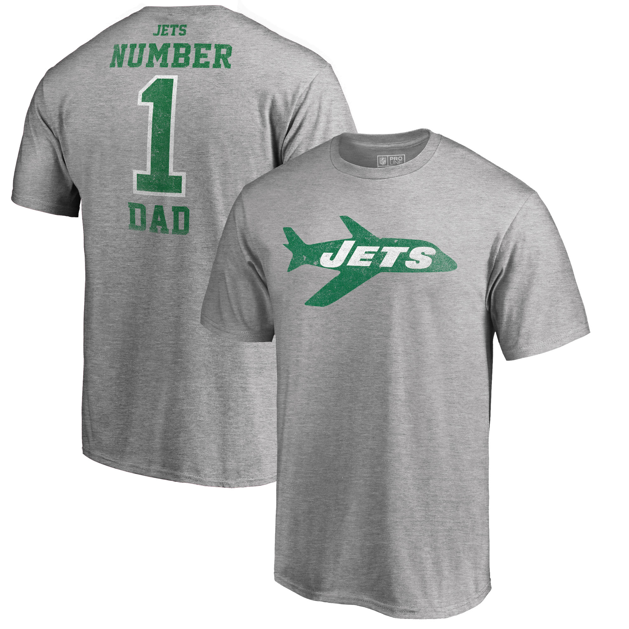 New York Jets NFL Pro Line by Fanatics Branded Big and Tall Greatest Dad Retro Tri-Blend T-Shirt - Heathered Gray
