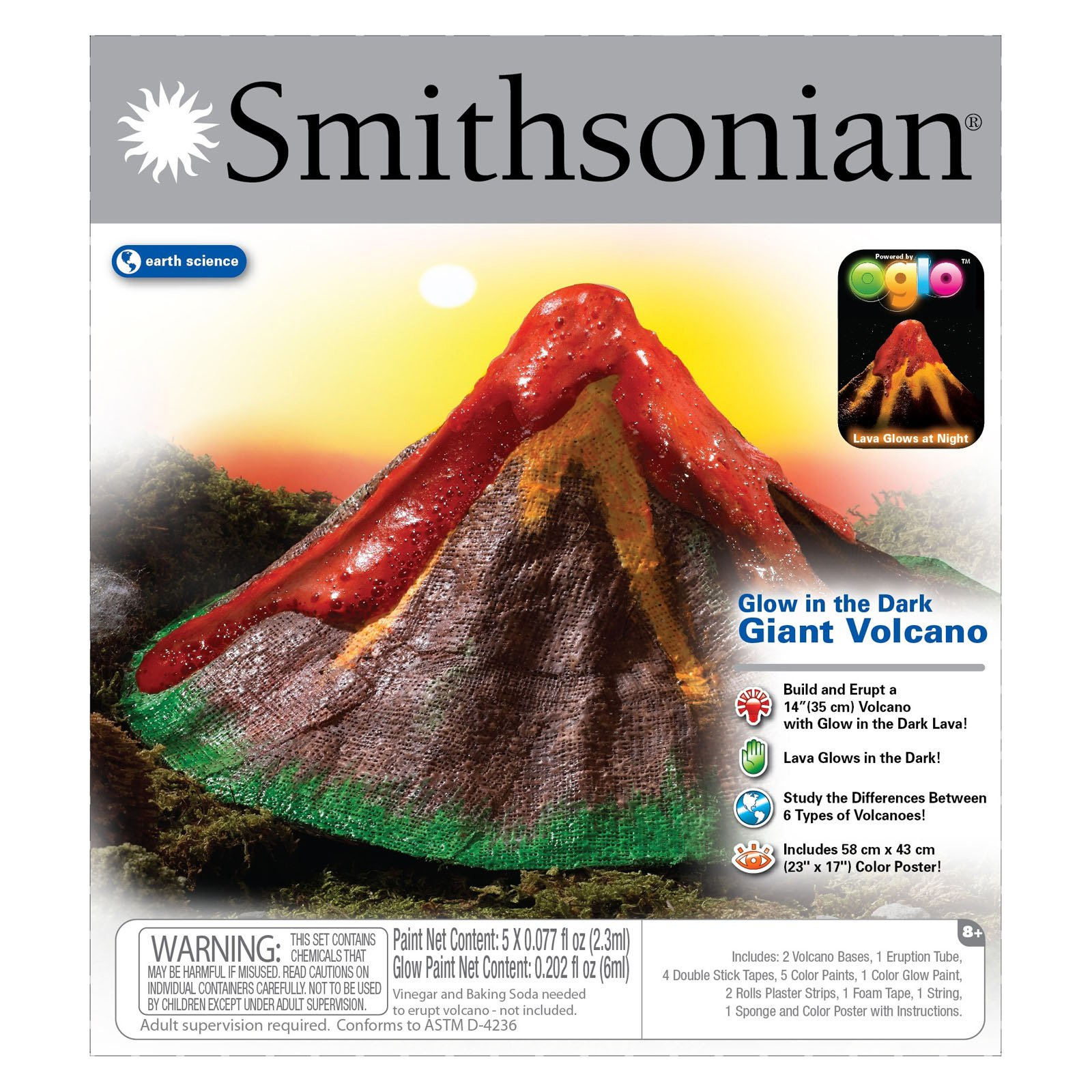 NSI Smithsonian Giant Glow In the Dark Volcano Kit