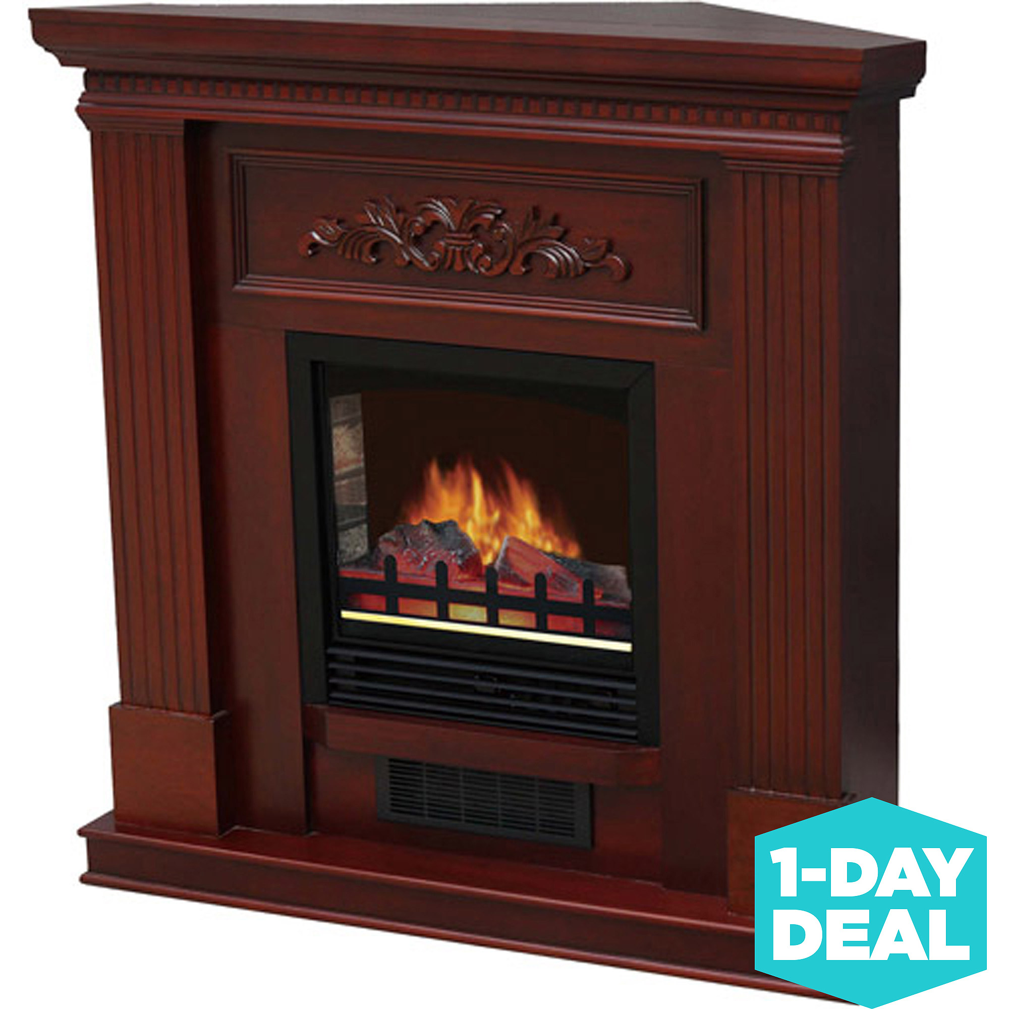 "Electric Fireplace with 38"" Mantle, Dark Cherry"