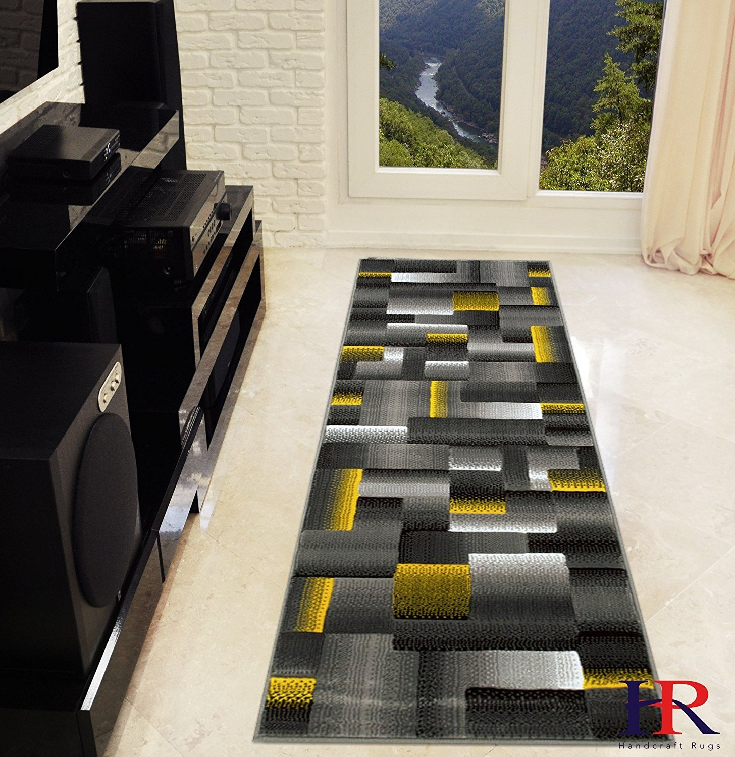 Yellow/Grey/Silver/Black/Abstract Area Rug Modern Contemporary Geometric Cube and square Design Pattern Carpet