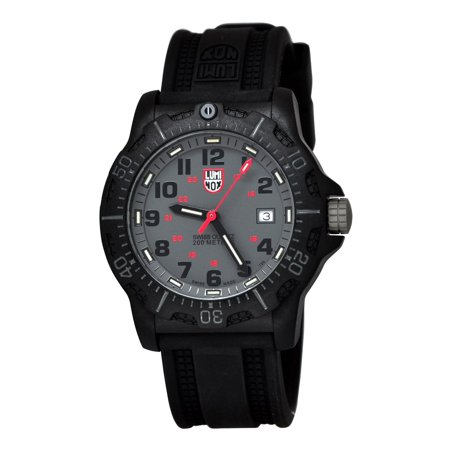 Luminox Black Ops 200M GMT Navy Seals Grey Dial Black Rubber Men's Watch 8802 (Gmt White Dial Watch)