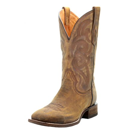 CORRAL A3302 Men's Golden Embroidered Square Toe Comfort Style Boots (11) - Discount Cowboy Boots