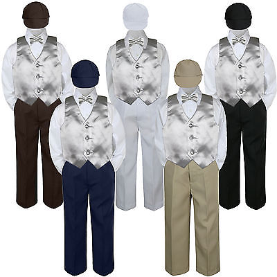 5pc Baby Toddler Boys Green Teal Vest Bow Tie Brown Pants Hat Suit Outfits S-7 4T