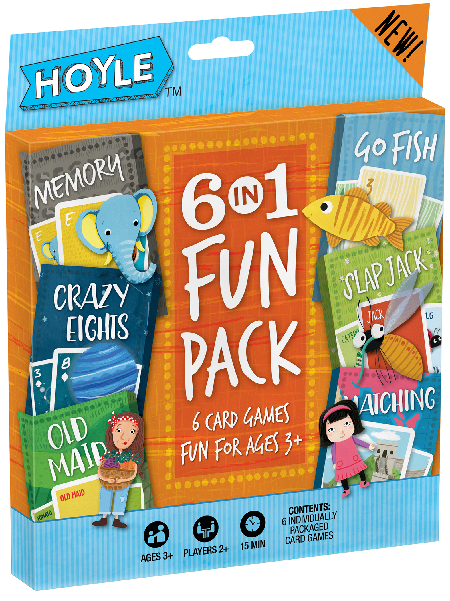 Hoyle 6 in 1 Fun Pack Kids Card Games with Fun-filled Updated Graphics