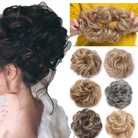 S-noilite Real Natural Curly Messy Hair Buns Extensions Hair Piece Scrunchie Updo Hair Extensions Coffee brown & Bleach