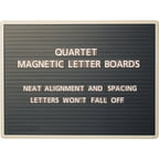 "Quartet Magnetic Wall Mount Letter Board, 24"" x 18"", Black Gray Aluminum Frame"