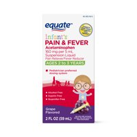 Equate Infant Acetaminophen Grape Flavored Suspension, 160 mg, 2 fl oz