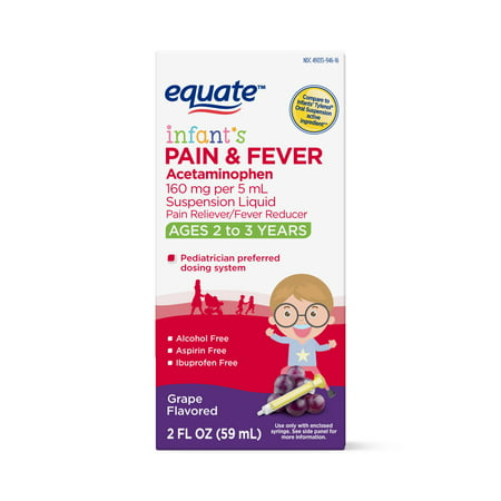 Equate Infants' Pain & Fever, Acetaminophen 160 mg per 5 mL Oral Suspension, Grape Flavor ,2 Oz