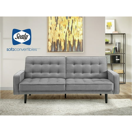 Sealy Trieste Mid-Century Split-back Convertible Sofa in Gray