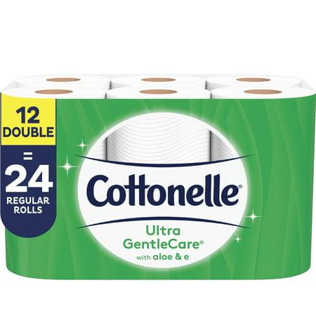 Cottonelle Ultra GentleCare Toilet Paper, Aloe & Vitamin E, 12 Double Rolls, Bath Tissue