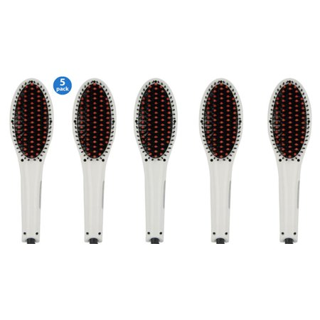 5 Pack Professional Hair Straightening Brush -ION heating technology, Temperature